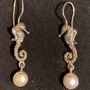 Sterling silver Seahorse and pearl earrings